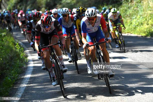 Stake Laengen Vegard of Norway and UAE Team Emirates and Antoine Duchesne of Canada and Team Groupama - FDJ compete during the 17th Benelux Tour...