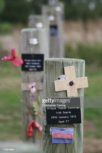 Stakes with the names of executed soldiers, stand by The Shot at Dawn memorial to soldiers executed by British forces in World War I created by...