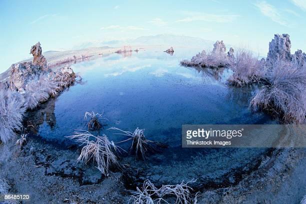 stalagmites bordering lake - thinkstock stock-fotos und bilder