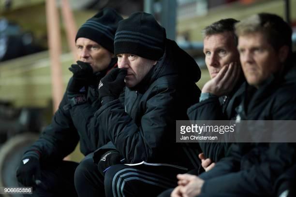Stale Solbakken head coach of FC Copenhagen and Bard Wiggen 1 assistant coach of FC Copenhagen looks on during the test match between FC Copenhagen...