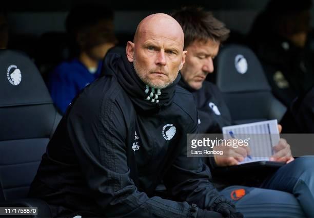 Stale Solbakken, head coach of FC Copenhagen and Bard Wiggen, assistant coach of FC Copenhagen on the bench prior to the Danish 3F Superliga match...