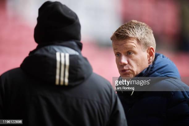 Stale Solbakken head coach of FC Copenhagen and Johan Lange technical director of FC Copenhagen talking after the test match between FC Copenhagen...