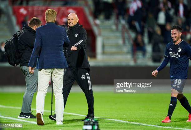 Stale Solbakken head coach of FC Copenhagen and Johan lange technical director of FC Copenhagen celebrate after the Danish 3F Superliga match between...