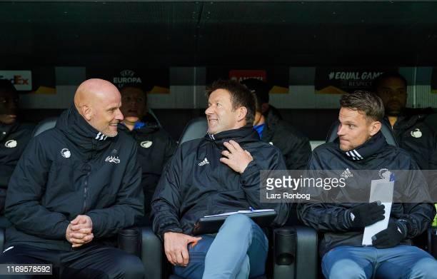 Stale Solbakken, head coach of FC Copenhagen, Bard Wiggen, assistant coach of FC Copenhagen and Stefan Madsen, assistant coach of FC Copenhagen on...