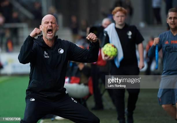 Stale Solbakken, head coach of FC Copenhagen celebrates after the Danish 3F Superliga match between Randers FC and FC Copenhagen at Cepheus Park on...