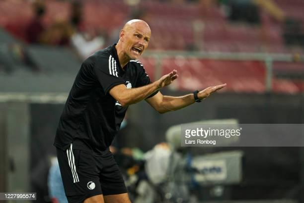 Stale Solbakken, head coach of FC Copenhagen gestures during the UEFA Europa League Quarter Final match between Manchester United and FC Copenhagen...