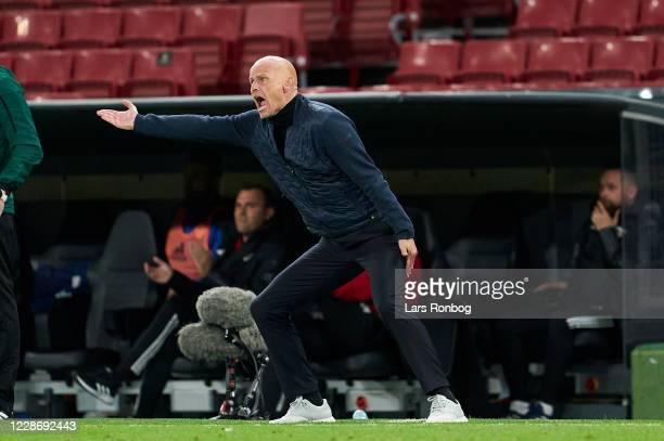 Stale Solbakken, head coach of FC Copenhagen gestures during the UEFA Europa League Qual. Match between FC Copenhagen and Piast Gliwice at Parken on...