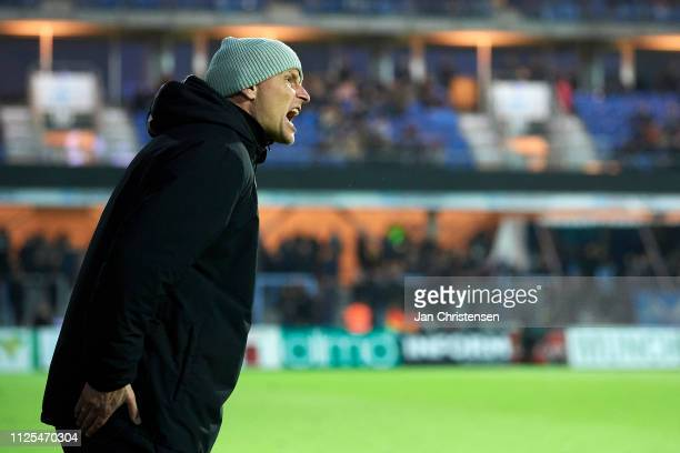 Stale Solbakken head coach of FC Copenhagen gives instructions during the Danish Superliga match between Randers FC and FC Copenhagen at Cepheus Park...