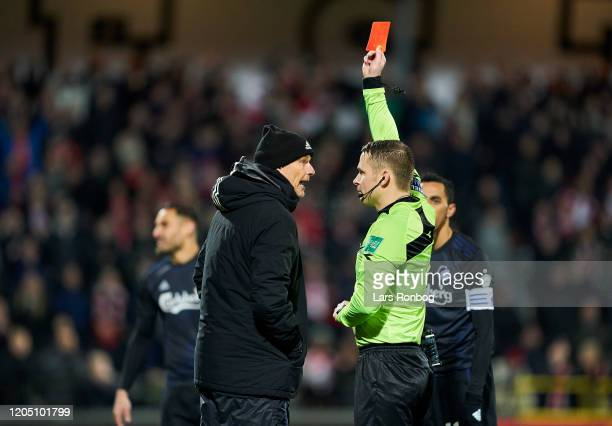 Stale Solbakken, head coach of FC Copenhagen is send off the pitch after receiving a red card from referee Jens Maae during the Danish Cup Sydbank...