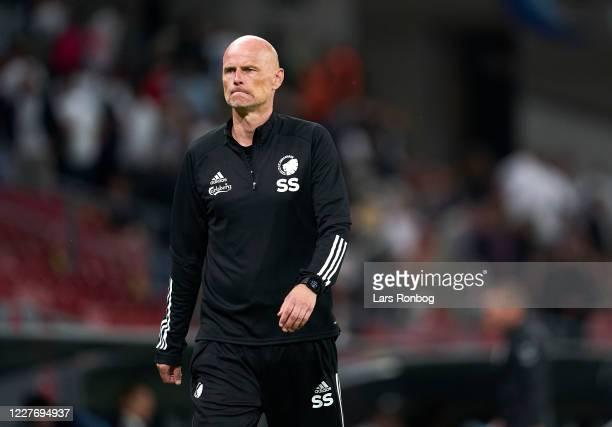 Stale Solbakken, head coach of FC Copenhagen leaving the pitch dejected after the Danish 3F Superliga match between FC Copenhagen and AGF Aarhus at...