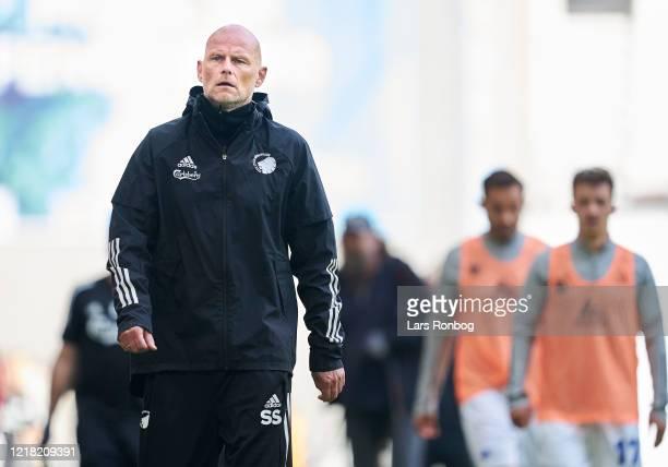 Stale Solbakken, head coach of FC Copenhagen leaving the pitch during halftime in the Danish 3F Superliga match between FC Copenhagen and Randers FC...