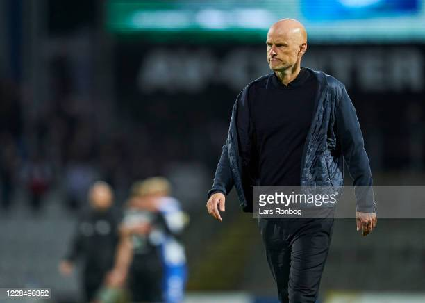 Stale Solbakken, head coach of FC Copenhagen looks dejected after the Danish 3F Superliga match between OB Odense and FC Copenhagen at Nature Energy...