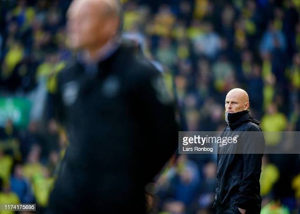 Stale Solbakken, head coach of FC Copenhagen looks on during the Danish 3F Superliga match between Brondby IF and FC Copenhagen at Brondby Stadion on...