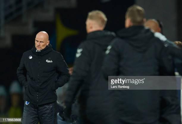 Stale Solbakken, head coach of FC Copenhagen looks on during the Danish 3F Superliga match between AGF Aarhus and FC Copenhagen at Ceres Park on...