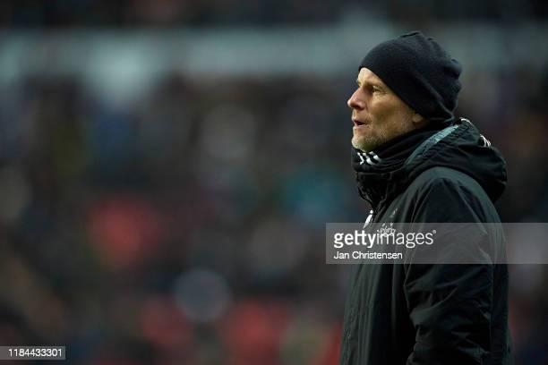 Stale Solbakken, head coach of FC Copenhagen looks on during the Danish 3F Superliga match between FC Copenhagen and Hobro IK at Telia Parken Stadium...