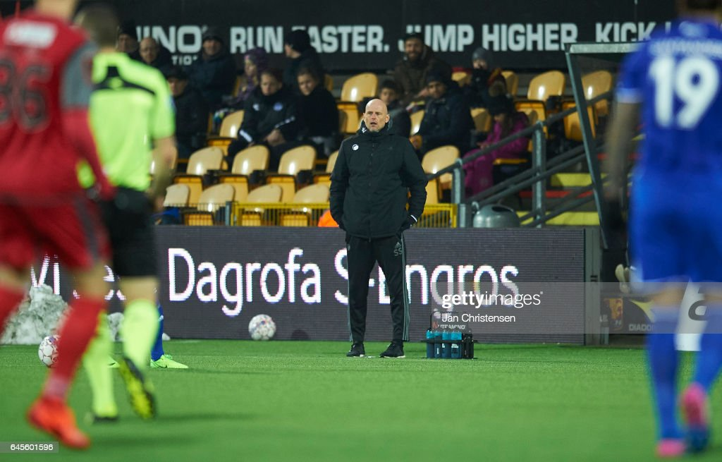 Stale Solbakken, head coach of FC Copenhagen looks on during the Danish Alka Superliga match between FC Nordsjalland and FC Copenhagen at Right to Dream Park on February 26, 2017 in Farum, Denmark.