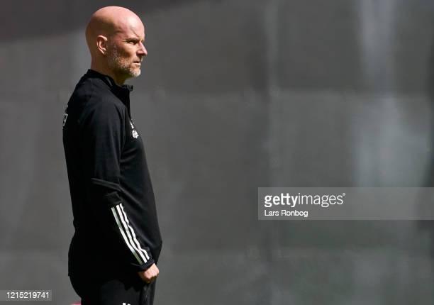 Stale Solbakken, head coach of FC Copenhagen looks on during the friendly match between FC Copenhagen and Sonderjyske at Telia Parken on May 26, 2020...