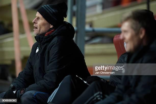 Stale Solbakken head coach of FC Copenhagen looks on during the test match between FC Copenhagen and Vejle Boldklub in Telia Parken Stadium on...
