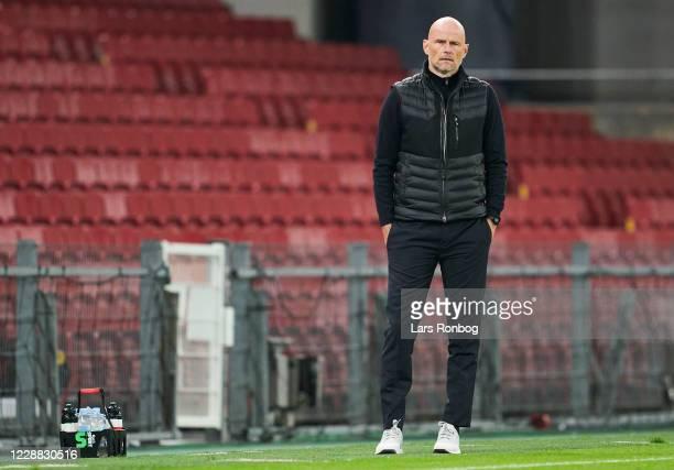 Stale Solbakken, head coach of FC Copenhagen looks on during the UEFA Europa League Playoff match between FC Copenhagen and HNK Rijeka at Parken on...