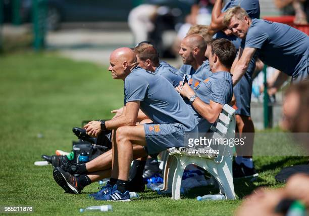 Stale Solbakken head coach of FC Copenhagen on the bench during the friendly match between FC Copenhagen and Lyngby Boldklub at KB's baner on June 27...