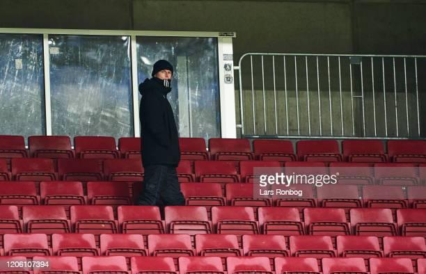 Stale Solbakken, head coach of FC Copenhagen on the empty stands during the Danish 3F Superliga match between FC Copenhagen and AC Horsens at Telia...