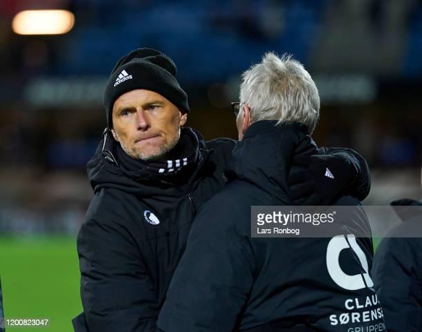 Stale Solbakken, head coach of FC Copenhagen shaking hands with Lars Olsen, head coach of Esbjerg fB after the Danish 3F Superliga match between...