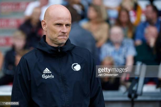 Stale Solbakken, head coach of FC Copenhagen smile prior to the Danish 3F Superliga match between AaB Aalborg and FC Copenhagen at Aalborg Portland...