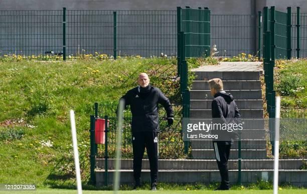 Stale Solbakken, head coach of FC Copenhagen sparking to Anders Storskov, physical coach of FC Copenhagen during the FC Copenhagen training session...