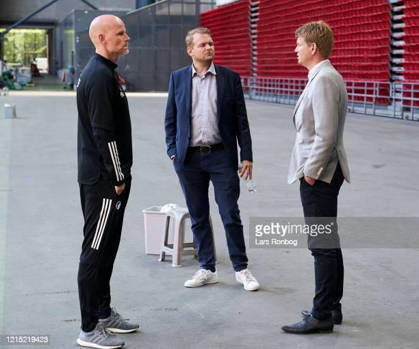 Stale Solbakken head coach of FC Copenhagen speaking to Daniel Rommedahl Director of Football Operations International Affairs of FC Copenhagen and...
