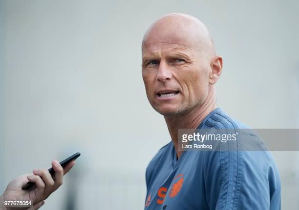 Stale Solbakken head coach of FC Copenhagen speaking tom the media after the FC Copenhagen training session at KB's Baner on June 18 2018 in...