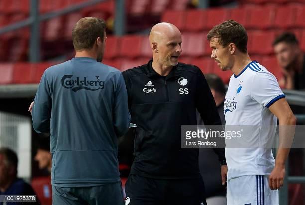 Stale Solbakken head coach of FC Copenhagen speaks to Andreas Bjelland of FC Copenhagen during the UEFA Europa League Qual match between FC...