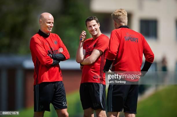 Stale Solbakken head coach of FC Copenhagen speaks to Brian Priske assistant coach of FC Copenhagen and Johan Lange technical director of FC...