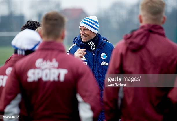 Stale Solbakken head coach of FC Copenhagen speaks to his players during the FC Copenhagen first training session at KB's baner on January 11 2016 in...