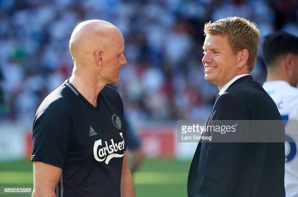 Stale Solbakken head coach of FC Copenhagen speaks to Johan Lange technical director of FC Copenhagen after the Danish Alka Superliga match between...