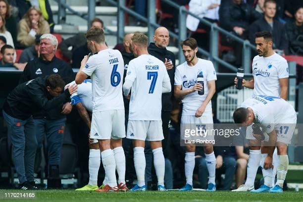 Stale Solbakken, head coach of FC Copenhagen speaks to Rasmus Falk of FC Copenhagen during the Danish 3F Superliga match between FC Copenhagen and FC...