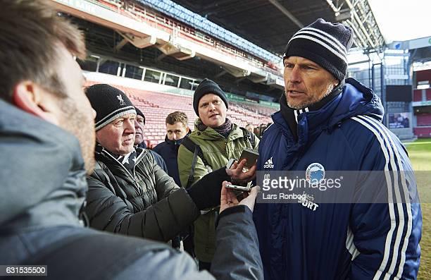 Stale Solbakken head coach of FC Copenhagen speaks to the media after the FC Copenhagen training session at Telia Parken Stadium on January 12 2017...