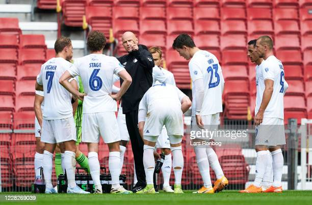 Stale Solbakken, head coach of FC Copenhagen talking to his players durinf the pre-season friendly match between FC Copenhagen and Silkeborg IF at...