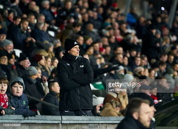 Stale Solbakken, head coach of FC Copenhagen watching the game from the stands after receiving a red card during the Danish Cup Sydbank Pokalen...