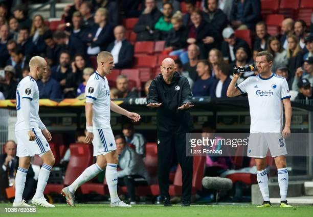 Stale Solbakken head coach of FC Copenhagen with Nicolai Boilesen Denis Vavro and Andreas Bjelland of FC Copenhagen during the UEFA Europa League...