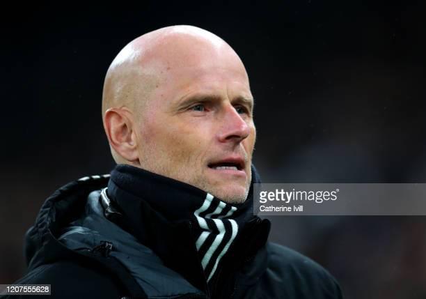 Stale Solbakken, Head Coach of FC Kobenhavn looks on prior to the UEFA Europa League round of 32 first leg match between FC Kobenhavn and Celtic FC...