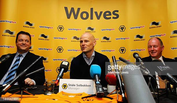 Stale Solbakken is unveiled as the new Wolverhampton Wanderers manager pictured with Jez Moxey Cheif Executive and Steve Morgan Chairman at Molineux...