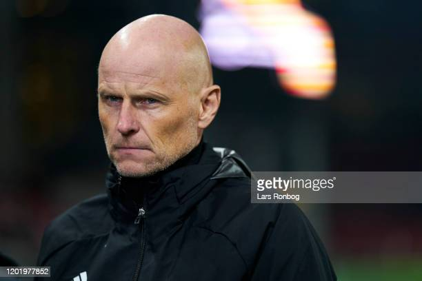 Stale Solbakken, manager of FC Copenhagen looks on prior to the UEFA Europa League Round of 32 1st Leg match between FC Copenhagen and Celtic FC at...