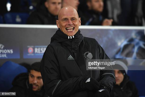 Stale Solbakken manager of FC Copenhagen looks on prior to the UEFA Champions League Group G match between Leicester City FC and FC Copenhagen at The...