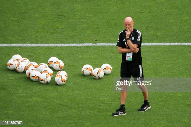 Stale Solbakken, Manager of FC Kobenhavn looks on during a training session ahead of their UEFA Europa League Quarter Final match against Manchester...