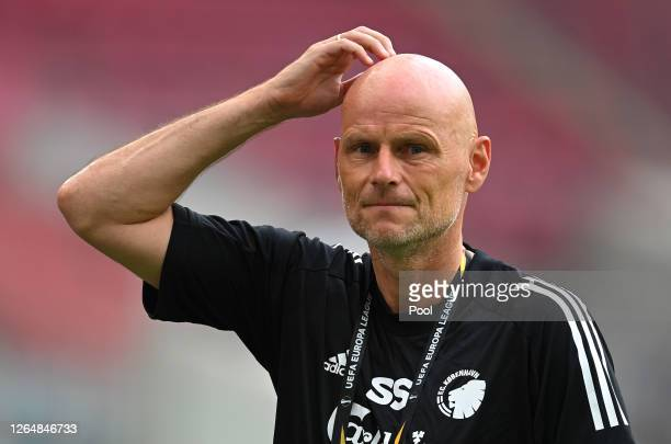 Stale Solbakken, Manager of FC Kobenhavn reacts ahead of a training session ahead of their UEFA Europa League Quarter Final match against Manchester...