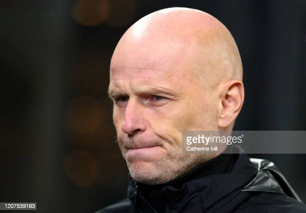 Stale Solbakken, Manager of Kopenhavn prior to the UEFA Europa League round of 32 first leg match between FC Kobenhavn and Celtic FC at Telia Parken...