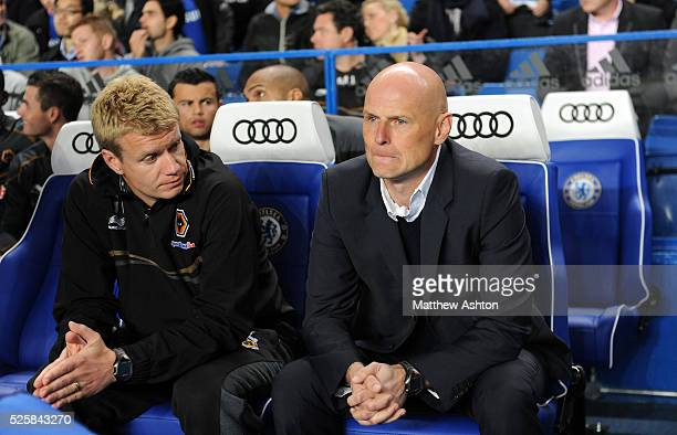 Stale Solbakken the head coach / manager of Wolverhampton Wanderers and Johan Lange the first team coach of Wolverhampton Wanderers