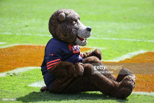 Staley Da Bear mascot sits in the endzone during the game between the Chicago Bears and the Green Bay Packers at Soldier Field on September 13 2015...