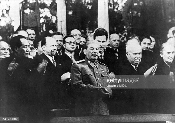 Stalin *21121879 Politician USSR Celebration on the occasion of Stalin's 70th birthday from left Mao Zedong Walter Ulbricht Stalin Nikita Khrushchev