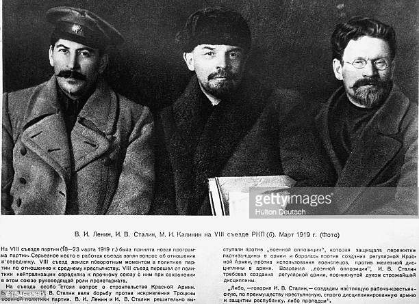 Stalin Lenin and Kalinin at the Eighth Bolshevik Party Congress This is actually part of a larger picture it has been cropped to emphasize Stalin's...